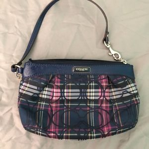 Coach Wristlet / Wallet in blue and purple plaid